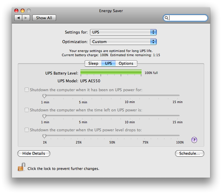 CyberPower UPS in Mac OS X Leopard