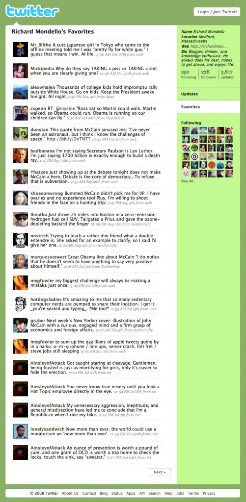 Favorites Tweets 2008, 1