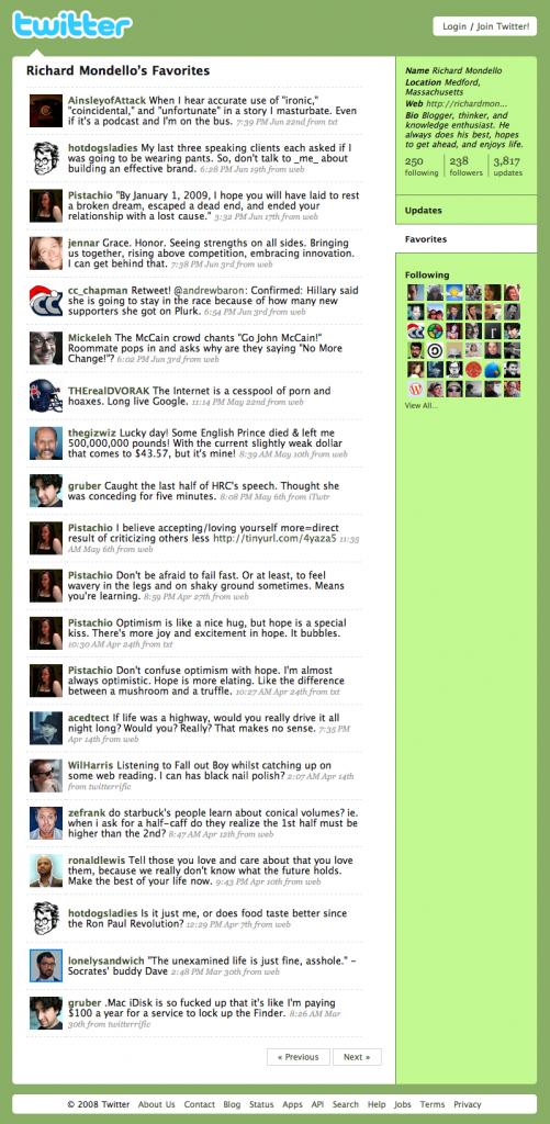 Favorites Tweets 2008, 2